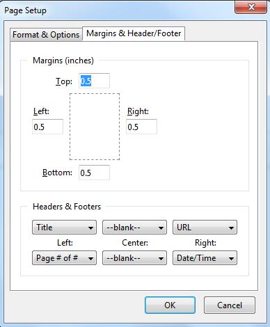 تنظیمات page setup در فایرفاکس 2